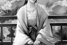 Grayscale Oriental ladies