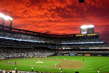 Diabolical clouds over the baseball stadium