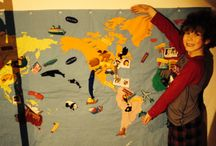 Kids with Maps / Children using maps, playing with maps, looking at globes and learning with globes.