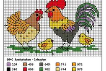 Cross stitch - hens, roosters and chickens