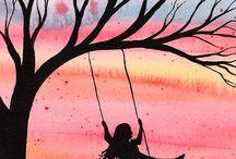 dívka na houpačce