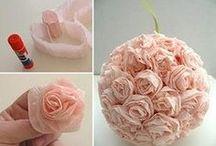 fleurs en papiers ou tissus