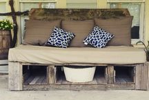 Pallet projects! / A porch bed my husband made from pallets and recycled wood from my childhood swing set (25yrs old)!!