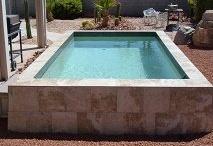 "Sedona pool by San Juan Fiberglass Pools / SEDONA Width 14'  / 4.27M Length 8'  / 2.44M Depth 3' 6"" / 1.07M Area 98ft2 / 9M2 Volume 2750G / 10410L"