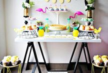Tropical Inspired Bridal Shower / Tropical themed bridal showers. Aloha, pineapples, flamingos, and more.
