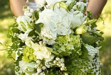 green & white  bouquets