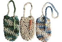 Crochet Cotton Pouch / hand crafted with 100% cotton yarn - perfect size for soap saver  / by Ladybug Spot