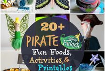 Pirates and fairies party / Pirate and faeries party ideas, fondant cake, pirate boat cake, pirate party decor, pirate party snacks, fairy crafts, fairy snacks