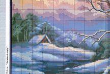 wzory krajobrazów haft