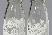 garrafas com renda