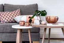Copper and Blush / Not many people would look towards Pink as an accent colour for the home, however as rose gold and copper take over, we see more elements of pink coming in with this.