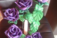 centros de flores de goma eva