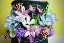 My creations / Recycling, decorative idea, created from can, old jeans and flowers