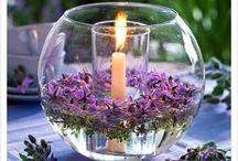 Bowl deco lys og blomste