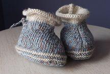 Mes chaussons tricotés / chaussons bébé au tricot