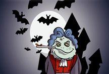 Cartes et invitations pour Halloween / Une palette d'images avec les figurines d'Halloween au choix : loup garou, diablotin, fantôme, sorcier... A vous de choisir et imprimer!