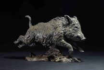 Wild Boar - sculpture / Photographs of Wild Boar sculptures I have made over the years.  All bronze, all signed, dated and limited editions