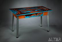 DRUID Desk / This colorful desk is made from the original cabinet sides of the Earth Wind Fire pinball by Zaccharia, built in 1987. The top of the table is covered with protective glossy clear coating.