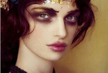 PRYST MAKE UP / High-contrast make up, bright inner colour, plenty of sparkle and glitter. Flat-back Rhinestone crystals applied by latex, perhaps.. Bold on dark-bright contrasting. Attention on eyes, light lips.