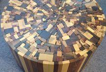meja mozaik kayu