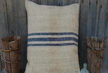 Grain Sack Pillows / We love grain sack and feed sack pillows here at Pink Pig as they are a perfect addition to any country decor setting.