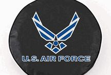 Military and Patriot Tire Covers: Licensed Logos / Our Military Spare Tire Covers will help you show honor for country and pride in service. At the same time, you will add character and style to your vehicle while protecting your valuable spare tire and rim with our cool military licensed logo tire covers.