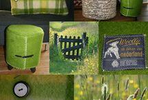 LOTS of IDEAS natuurinspiratie / De combinatie van verweerd hout, mals voorjaarsgras, gele boterbloemen en de authentieke kleuren van vintage wollen dekens inspireerden me voor het maken van kussens en poefjes.