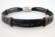 Bracelets de cuir tressé, collection Conquérant