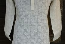 Lucknow Chikan Hand Embroidered Mens Kurta