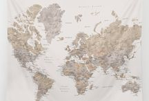 ~ HOT ~ World map wall tapestries!