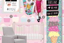 Sweet Treats Nursery Decor / Sugar and Spice and Everything Nice!  These are the things little girls are made of!!  This super sweet nursery theme is the perfectly delicious theme for your little girls room.  We just love it. With everything from a sweet ice cream inspired growth chart to the perfect personalized pillow!