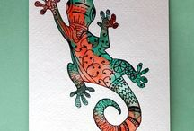 Y7 - Aborigine lizards / Have a look at the lizard drawings. Invent your own and fill with amazing patterns.