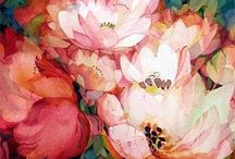 Watercolour floral paintings