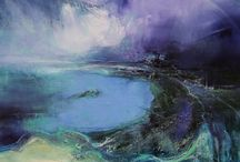 Kathy Ramsay Carr / Kathy Ramsay Carr artist painter expressive contemporary semi abstract paintings art seascape coastal landscape st ives cornwall for sale