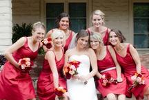Bride & Bridesmaids   Bouquets   White & Red