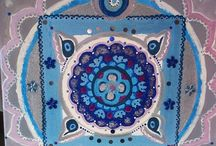 Mandala art: Indian blue mandala / paintings on canvas