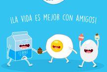 Linduras para celebrar / Huevito y Clarita en nuestras ilustraciones para hacerte sonreír.