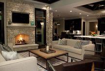 Furniture around fireplace