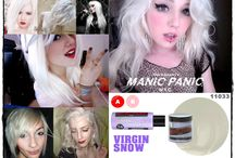 Manic Panic Virgin Snow / Reference pics for Manic Panic Semi-Permanent violet-based toner Virgin Snow. Vegan & Cruelty-Free. Available in Classic & Amplified. For full product catalogue email us: info@anonamiss.co.za