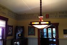 Prairie Craftsman Chandelier / Mission oak arts and crafts mica chandelier with wooden chain