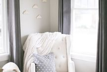 inspire: Nursery / Gorgeous blush, pink, white and blue neutral color and furniture inspiration for a baby nursery.