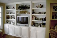 White Entertainment Centers / Built in white entertainment center cabinets and wall units. TV Stands.