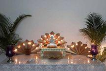 Ganesh decorations At Home / Ganesh Decoration done by ganeshji worrshippers at thier Home