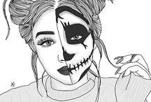 outline girl