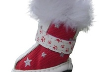 Fur Dog Boots / Your pooch will be a trendsetter in the neighborhood wearing these fashionable canvas dog boots featuring white faux fur trim. These chic dog boots are perfect for keeping paws warm on a cool day but also light enough to wear to that spring special occasion. Take your dog's footwear fashion to the next level with these cool designer dog shoes!