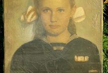 ANTIQUE ORIGINAL OIL PAINTING SCHOOL GIRL PORTRAIT ON CANVAS