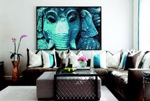 Brown sofas, grey walls, blue & coral accents client ideas