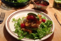 My mini taco meatballs in a spring roll wrap ....... Yummy! / Taco meatball cooked in a crispy spring roll wrap in a bed of lettuce, grape tomatoes, avocado with salsa, no fat sour cream & salsa