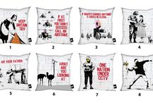 BANKSY ART / SOME OF THE MOST FAMOUS GRAFFITI DESIGNS PRINT ON SOFT AND LUXURIOUS CUSHIONS