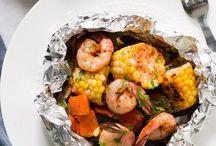 Shrimp veggies foil packets